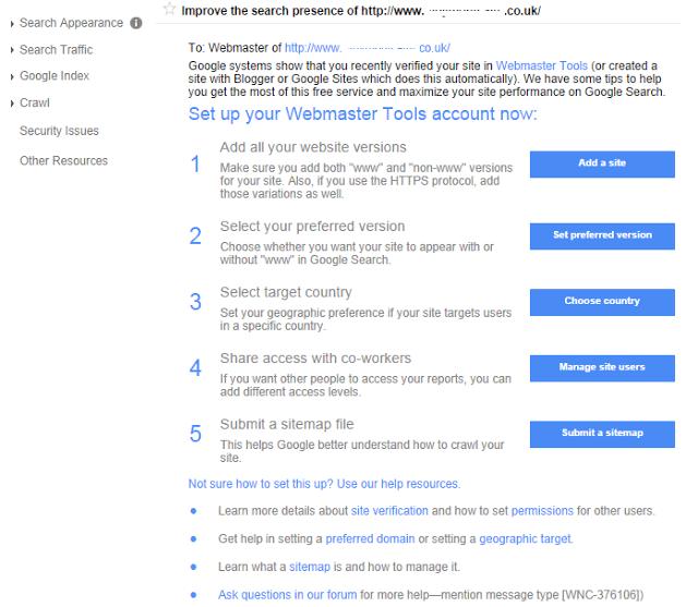 Google Webmaster Tools высылает подсказки новичкам