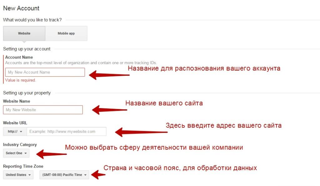 Создание аккаунта Google Analytics - 1
