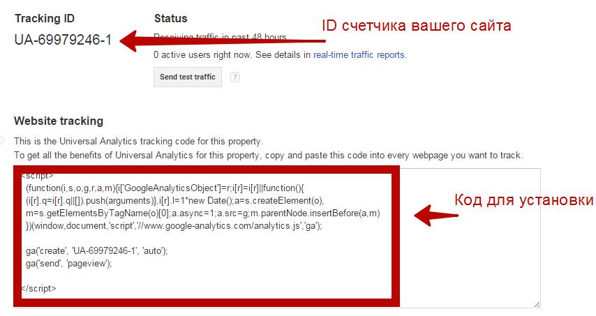 Установка кода счетчика Google Analytics