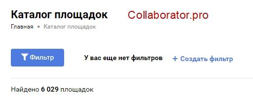 Количество сайтов на Collaborator.pro
